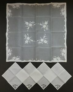Vintage French Embroidered White Silk Organza Shadow Work Table Cloth 4 Napkins