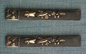 Rare Pair Of Antique Japanese Kozuka To Samurai Sword Katana Wakizashi Tanto