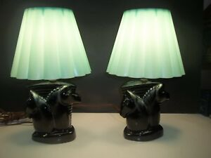 Vintage Mid Century Horse Head Table Lamps W Robin Egg Blue Shades