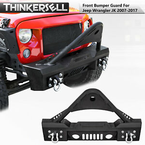 Stubby Front Bumper With Stinger Hoop And Winch Plate 2007 2017 Jeep Wrangler Jk
