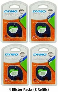 Dymo 10697 Letratag Pack Paper Label Refills White 1 2 X 13 Ft Pack Of 8