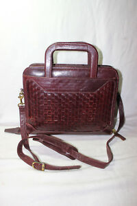Franklin Quest 7 Ring Brown Leather Weave Zip Planner Binder With Handles strap