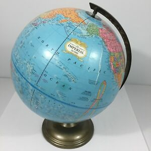 Vtg Crams Imperial World Globe 12 Diameter Metal Stand Rotates Made In The Usa