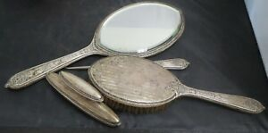 Victorian Era 4 Piece Ornate Sterling Silver Mirror Brush And Comb Set