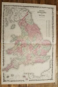 Antique Colored Map Of England And Wales Johnson S Family Atlas 1863