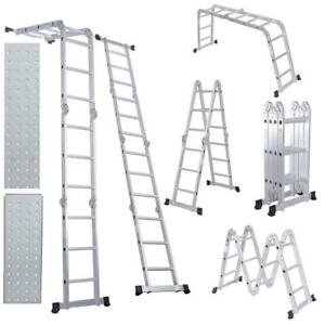12 5ft Multi purpose Folding Extendable Step Ladder Lightweight Scaffold Ladder