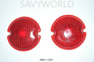Red Glass Lens Tail Stop Light Cover Vintage Old Antique Vintage 303 308 2x Set