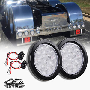 2pcs 4 Inch White 12 Led Round Tail Light Backup Reverse Lamp Clear Lens For Rv