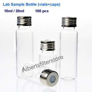 18 Mm Screw Top Headspace Vials Caps Clear Glass 10 20 Ml Capacity 100pcs pk