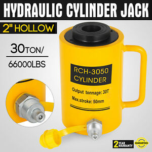 66000lbs 2 Stroke Hydraulic Cylinder Jack Pressure Pump Hollow 50mm 2in Ram