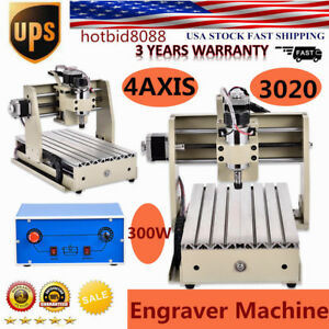 New 4axis 3020 Cnc Router Engraver Milling Machine Carving Drilling 300w Us Fast