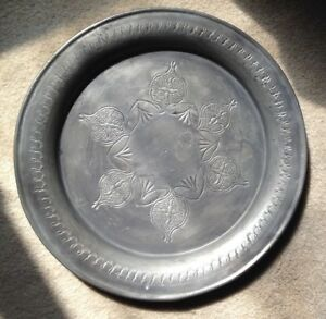 Antique Pewter Decorated 11 Inch Charger Plate Maker Marked
