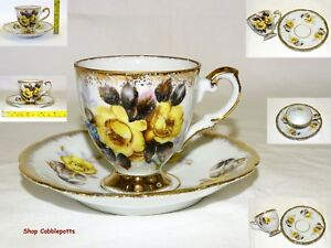 Hand Painted Yellow Roses Demitasse Cup Saucer Lots Of Gold Trimming Beautiful