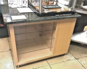 Maple Granite Retail Store Counter Display Showcase Adjustable Glass Shelves