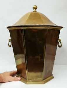 Heavy Antique Brass Coal Scuttle Or Ash Bin With Iron Bottom