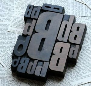 Bbbbb Mixed Set Of Letterpress Wood Printing Blocks Type Woodtype Wooden Printer