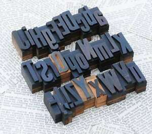 A z Mixed Alphabet 1 42 Letterpress Wooden Printing Blocks Wood Type Printer s