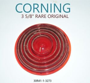Corning Red Glass Lens Tail Stop Vintage Old Antique Made In Usa Railroad Car