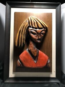 Mid Century Modern Witco Inspired Woman Wood Carving Wall Hanging