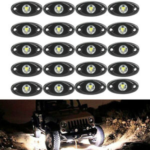 20pcs White Waterproof Off Road Led Rock Lights Replacement For Marinetruck Suv