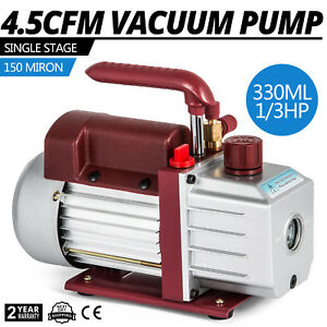 4 5cfm Single stage Rotary Vacuum Pump Hvac ac 1 4flare Inlet 5pa Refrigerant