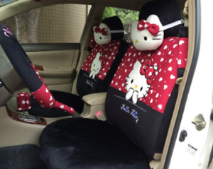 2021 New Universal Hello Kitty Car Seat Front Rear Cover Accessory Set 18 Pcs