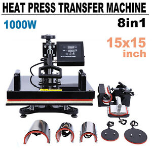 8in1 15 x15 Combo T shirt Mug Plate Heat Press Transfer Machine Multifunctional