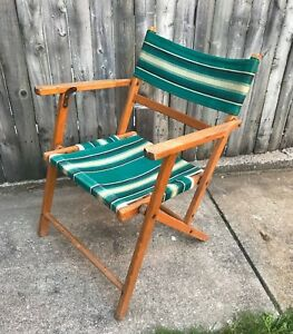 Vintage Wood Folding Chair Striped Canvas Deck Patio Beach