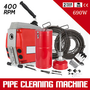 3 4 6 3 Sectional Pipe Drain Auger Cleaner Sewer Clog Cleaning W cutter 690w