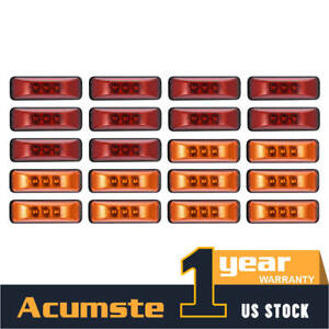 20x Amber red 4 Side Marker Clearance Led Light Waterproof Trailer Rv Boat