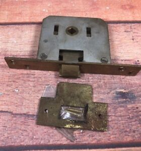 Vintage Mortise Lock Set Bb Spain Brass Face Strike Plate No Deadbolt 18b