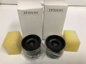 new Pair Amscope Ep20x305 Wf20x Microscope Eyepieces