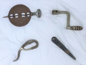 Lot 4 Vintage Antique Wood Stove Tools Lifter Spindle Griswold Majestic Arctic