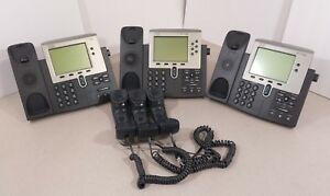 Lot Of 3 Cisco 7942 Unified Ip Business Phone W 3 Handsets Used Tested Working