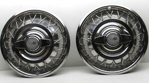 2 Vintage 1962 1963 Corvair Chevrolet Wire Spinner Hub Caps 14 Dia Chrome