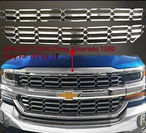 2016 2018 Chevy Silverado 1500 Overlay Cover Inserts Chrome Grille Skin Snap On