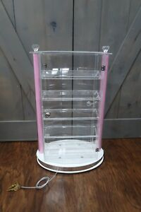 Acrylic Rotatable Display Locking Case Jewelry Display With 4 Shelves