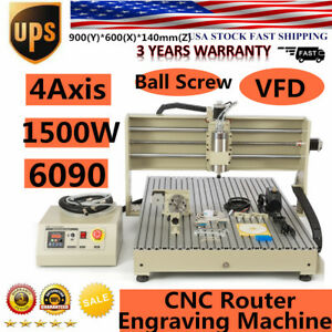 4axis 1500w 6090 Usb Cnc Router Engraver Engraving Cutting Milling Machine 1 5kw