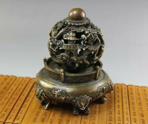 China Antique Qianlong Bronze Luck Dragon Phoenix Unicorn Incense Burners