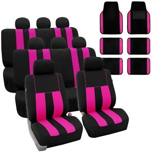 Pink 3row Suv Split Bench Car Seat Covers With Carpet Floor Mats