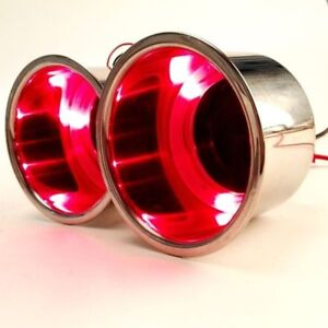 2pcs Stainless Steel Recessed Boat Rv Cup Drink Holder With 3 Red Led Light Us