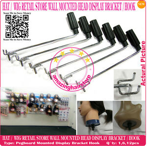 Retail Store Display Hook Hat Wig Styrofoam Head Holder Fixture Pegboard Mount
