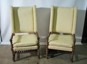 Pair Of Drexel Bishopsgate English Style Wing Back Chairs Oversized 1970 S