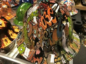 New Full Brim Hard Hat Custom Hydro Dipped Graffiti Sticker Bomb Free Shipping