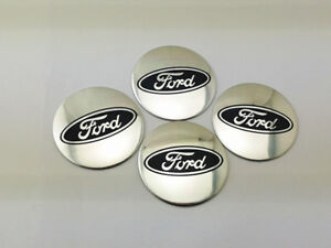 4pcs 56mm Car Wheel Center Hub Caps Sticker Emblem Curved For Ford Silver 5652