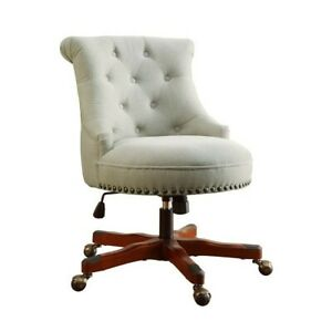 Riverbay Furniture Armless Upholstered Office Chair In Dark Walnut