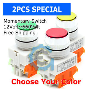 2pcs 22mm Ac dc Push Button Red Green Yellow Switch Momentary On Off Heavy Duty