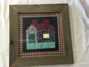 Primitive Barnwood Framed Quilt Sampler Picture Country Decor