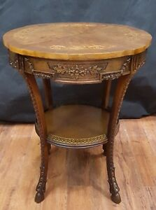 1800 S Victorian 2 Tiered Wood Inlaid Carved 24 Round Nook Game Bistro Table