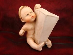 Vase Figurine Flower Holder Baby Piano Baby Italian Style Porcelain Bisque Ceram